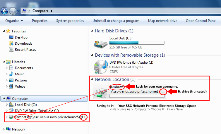 Image illustrating how to access SSC Network H: Drive
