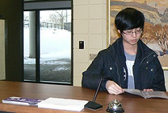 Student at Main Office counter